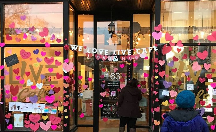 Live Cafe covered in hearts